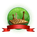 Background abstract green chess game brown beige board figures red ribbon circle frame illustration Royalty Free Stock Photo