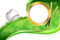 Background abstract green grass baseball ball gold circle frame illustration Royalty Free Stock Photo