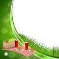 Background abstract green grass picnic basket hamburger drink vegetables baseball ball circle frame illustration Royalty Free Stock Photo
