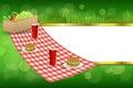 Background abstract green grass picnic basket hamburger drink vegetables gold stripes frame illustration Royalty Free Stock Photo