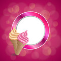 Background abstract pink beige vanilla ice cream circle frame illustration Royalty Free Stock Photo