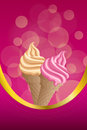 Background abstract pink beige vanilla ice cream frame vertical gold ribbon illustration vector Stock Photo