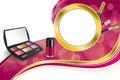 Background abstract pink cosmetics make up lipstick mascara eye shadows nail polish gold ribbon circle frame illustration Royalty Free Stock Photo