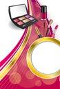 Background abstract pink cosmetics make up lipstick mascara eye shadows nail polish gold ribbon circle vertical frame illustration Royalty Free Stock Photo