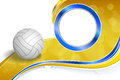 Background abstract sport volleyball blue yellow ball circle frame illustration Royalty Free Stock Photo