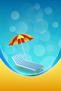 Background abstract summer beach vacation deck chair umbrella blue yellow vertical frame illustration Royalty Free Stock Photo