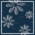 beautiful flower design for scarf, hijab, and bandana with navy blue colors vector illustration ready for print.