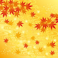 Background of autumn leaves and river Royalty Free Stock Images