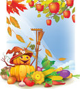 Background with autumn leaves and vegetable Stock Photo