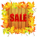 Background autumn sale billboard decorated with maple leaves with a message about the wooden billboard decorated with Stock Images