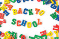 Background back to school from wooden colorful letters Stock Images