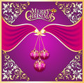 Background with ball on cristmas and gold pattern Royalty Free Stock Photo