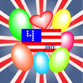 Background with balloons on independence day fourth of july elements of the national flag Royalty Free Stock Photos