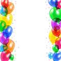 Background with balloons set of colored and confetti flying on white illustration Stock Photography