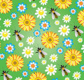 Background with bees and flowers Stock Image
