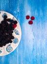 Background - Berries, Blackberry, blueberries on blue