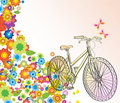 Background with bicycle and beautiful flowers Royalty Free Stock Image