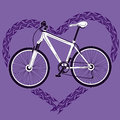Background with bicycle and heart made of tire tra speed track Royalty Free Stock Images