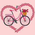 Background with bicycle and heart made of tire track pink Stock Photography