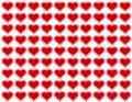 Background big hearts red seamless Royaltyfri Bild