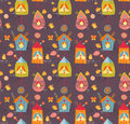 Background with birds and flowers seamless pattern Royalty Free Stock Photography