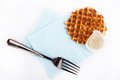 Background biscuits, waffles, fruit jelly and fork and napkin isolated Royalty Free Stock Photo