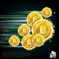 Background with bit coins flying with speed of light and motion blur track back