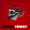 Background on black friday with a shopping bag cut from paper Royalty Free Stock Image