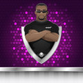 Background black man security guard of nightclub illustration format eps Stock Images