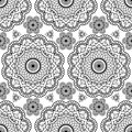 Background with black mehndi floral henna seamless lace buta decoration items in Indian style. Royalty Free Stock Photo