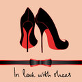Background of black pair of shoes elegance with text in love with Royalty Free Stock Image