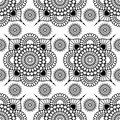 Background with black and white mehndi henna seamless floral lace buta decoration items on white background in Indian style. Royalty Free Stock Photo