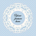 Background blue doily dot frame lace pastel polka Royaltyfria Foton