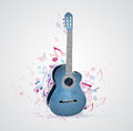 Background with blue guitar music abstract and notes Royalty Free Stock Photos