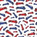 Background blue and red cartoon retro car