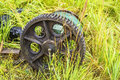 Background blurred rusty wheel of an old woodworking machines in the grass Royalty Free Stock Image