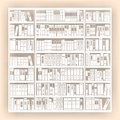 Background with bookcase beige full Royalty Free Stock Photos