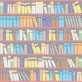 Bookshelves with books.