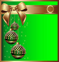 Background with bow on cristmas and ball with tass Royalty Free Stock Image