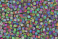 Background with bright colored squares Stock Photography