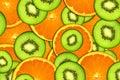 Background bright fruit, oranges and kiwi Royalty Free Stock Photo