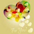 Background with bright hearts Stock Photography
