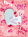 Background with brush strokes and scribbles in hea heart shapes words love i love you paper heart calligraphic text be my Royalty Free Stock Photo