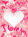 Background with brush strokes and scribbles in heart shapes and words love i love you valentines day card Stock Photography