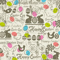 Background with bunny, easter eggs, flower, chicks, hen