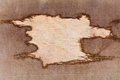 Background of burlap with a hole for writing text texture the wood Stock Images