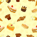 Background of cake and other sweets seamless texture vector illustration Royalty Free Stock Photo