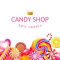 Background with candies bright and lollipops Stock Images