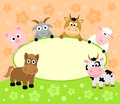 Background card with funny animals Royalty Free Stock Image