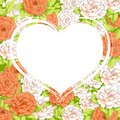 Background of carnations with white heart Royalty Free Stock Photo